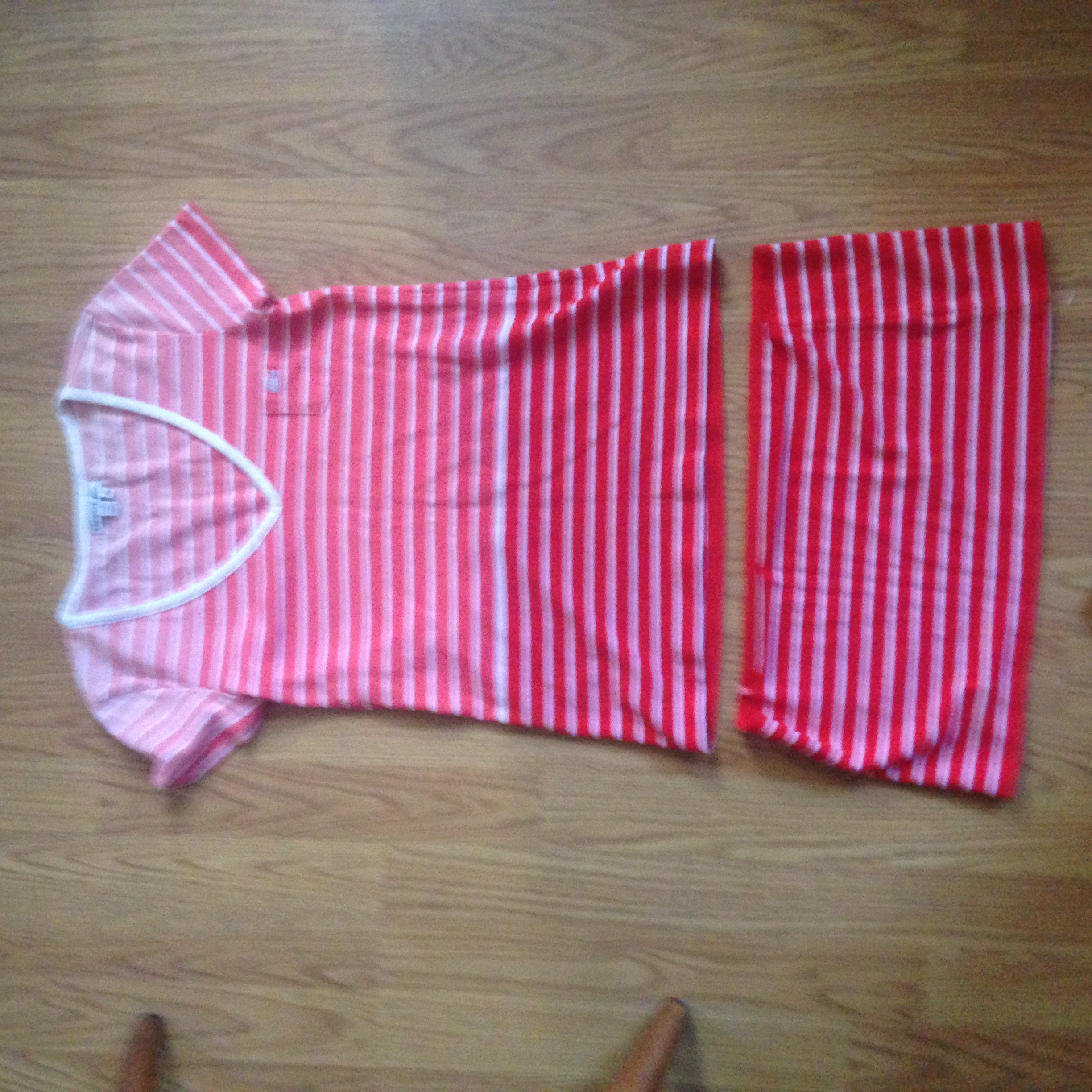 Striped tunic and a left over scrap of fabric. It's too pretty to be a rag... any ideas?