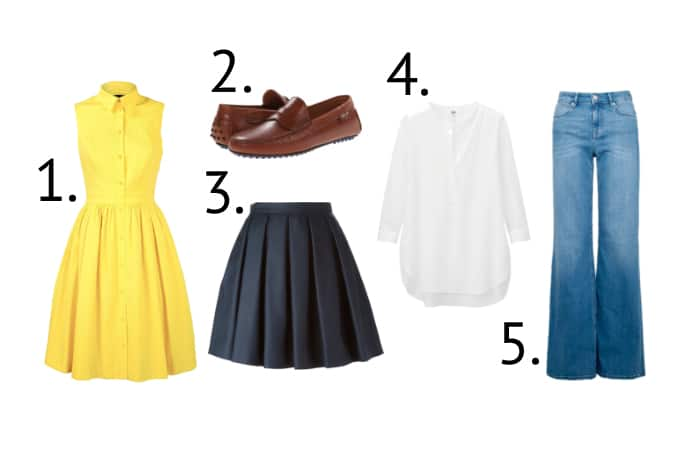 1. Yellow Shirt Dress 2. Luggage Tan Loafers 3. Navy Blue Pleated Skirt 4. Silk Tunic 5. High Waisted Trouser Jeans