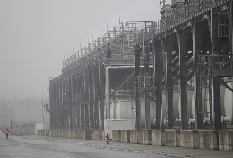 Tanks containing coolant for servers at a Google Data center in Saint Ghislain, Belgium. Image via The Atlantic