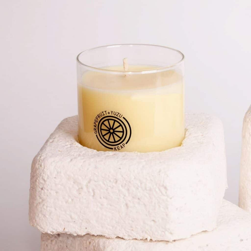 keap eco-friendly, zero waste, non-toxic candles in pretty jars