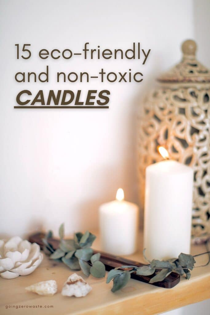 15 eco friendly, non toxic candles from www.goingzerowaste.com #candles #nontoxic #ecofriendly #sustainability