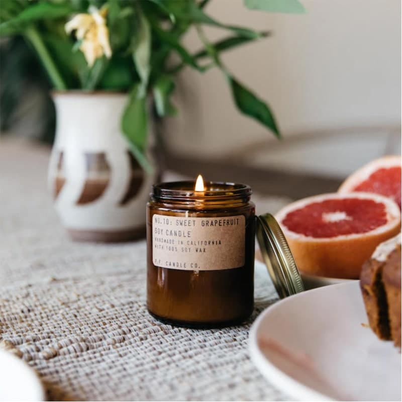 p.f. candle co eco-friendly, zero waste, non-toxic candles in pretty jars