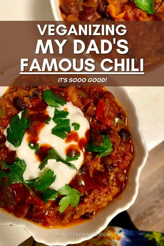 ultimate vegetarian chili recipe from www.goingzerowaste.com #chili #vegetarian #plantbased #vegan